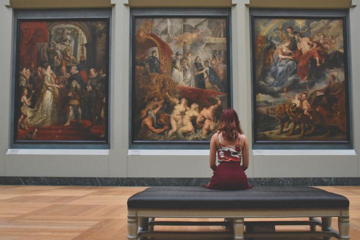 lady admiring art